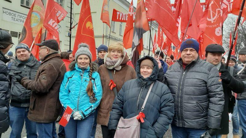 Коммунисты САО Москвы на шествии и митинге 23 февраля 2020 года